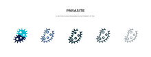Parasite Icon In Different Style Vector Illustration. Two Colored And Black Parasite Vector Icons Designed In Filled, Outline, Line And Stroke Style Can Be Used For Web, Mobile, Ui