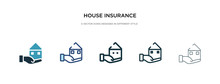 House Insurance Icon In Different Style Vector Illustration. Two Colored And Black House Insurance Vector Icons Designed In Filled, Outline, Line And Stroke Style Can Be Used For Web, Mobile, Ui
