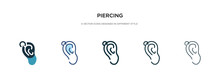 Piercing Icon In Different Style Vector Illustration. Two Colored And Black Piercing Vector Icons Designed In Filled, Outline, Line And Stroke Style Can Be Used For Web, Mobile, Ui