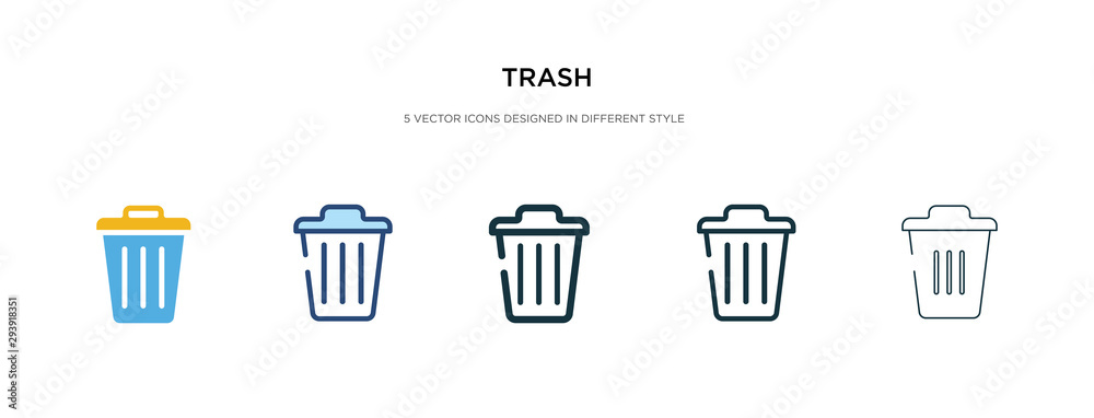 Fototapeta trash icon in different style vector illustration. two colored and black trash vector icons designed in filled, outline, line and stroke style can be used for web, mobile, ui