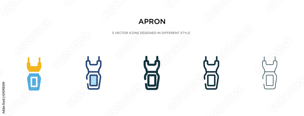 Fototapeta apron icon in different style vector illustration. two colored and black apron vector icons designed in filled, outline, line and stroke style can be used for web, mobile, ui