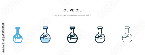 Fototapeta olive oil icon in different style vector illustration. two colored and black olive oil vector icons designed in filled, outline, line and stroke style can be used for web, mobile, ui obraz
