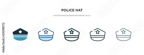 Fotografia, Obraz police hat icon in different style vector illustration