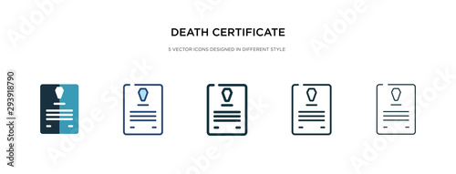 Fotografie, Tablou  death certificate icon in different style vector illustration