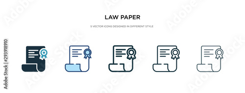 Foto law paper icon in different style vector illustration