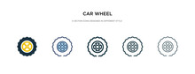 Car Wheel Icon In Different Style Vector Illustration. Two Colored And Black Car Wheel Vector Icons Designed In Filled, Outline, Line And Stroke Style Can Be Used For Web, Mobile, Ui