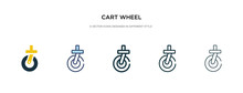 Cart Wheel Icon In Different Style Vector Illustration. Two Colored And Black Cart Wheel Vector Icons Designed In Filled, Outline, Line And Stroke Style Can Be Used For Web, Mobile, Ui