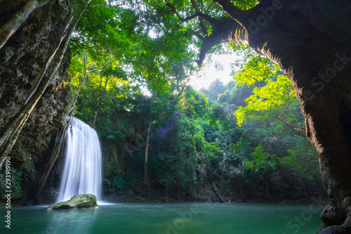 Garden Poster Forest river Erawan waterfall and national park which is one of famous travel destination in Kanchanaburi - Thailand. Photo contain ghost-flare due to sunlight. Long exposure shutter, for smooth water.