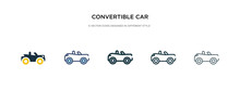 Convertible Car Icon In Differ...