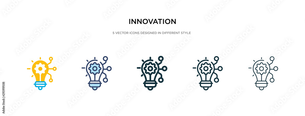Fototapeta innovation icon in different style vector illustration. two colored and black innovation vector icons designed in filled, outline, line and stroke style can be used for web, mobile, ui