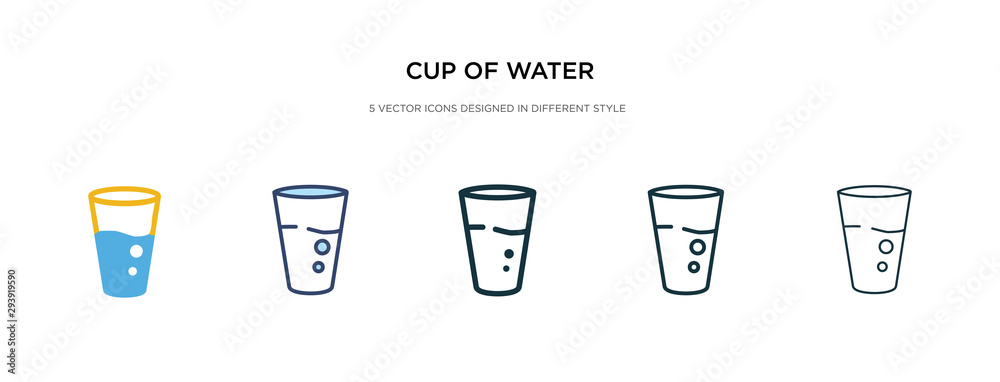 Fototapeta cup of water icon in different style vector illustration. two colored and black cup of water vector icons designed in filled, outline, line and stroke style can be used for web, mobile, ui