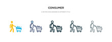 Consumer Icon In Different Style Vector Illustration. Two Colored And Black Consumer Vector Icons Designed In Filled, Outline, Line And Stroke Style Can Be Used For Web, Mobile, Ui