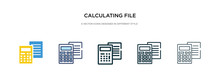 Calculating File Icon In Different Style Vector Illustration. Two Colored And Black Calculating File Vector Icons Designed In Filled, Outline, Line And Stroke Style Can Be Used For Web, Mobile, Ui