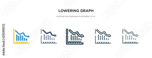 Fototapeta  lowering graph icon in different style vector illustration