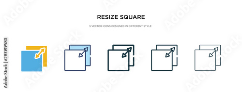 resize square icon in different style vector illustration Poster Mural XXL