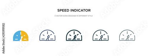 Photo speed indicator icon in different style vector illustration