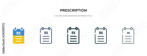 prescription icon in different style vector illustration Canvas-taulu