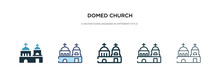 Domed Church Icon In Different Style Vector Illustration. Two Colored And Black Domed Church Vector Icons Designed In Filled, Outline, Line And Stroke Style Can Be Used For Web, Mobile, Ui
