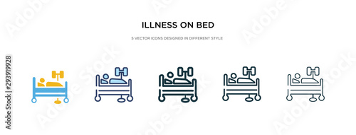 illness on bed icon in different style vector illustration Canvas Print