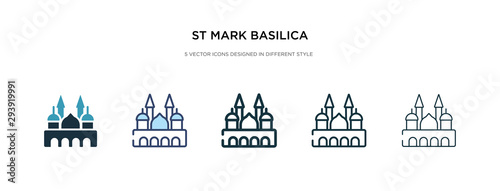 st mark basilica icon in different style vector illustration Wallpaper Mural