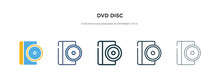 Dvd Disc Icon In Different Style Vector Illustration. Two Colored And Black Dvd Disc Vector Icons Designed In Filled, Outline, Line And Stroke Style Can Be Used For Web, Mobile, Ui