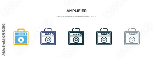 Photo amplifier icon in different style vector illustration