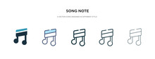 Song Note Icon In Different Style Vector Illustration. Two Colored And Black Song Note Vector Icons Designed In Filled, Outline, Line And Stroke Style Can Be Used For Web, Mobile, Ui