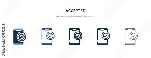 Fotomural accepted icon in different style vector illustration