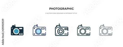 Obraz photographic icon in different style vector illustration. two colored and black photographic vector icons designed in filled, outline, line and stroke style can be used for web, mobile, ui - fototapety do salonu
