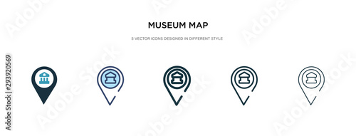 Leinwand Poster museum map icon in different style vector illustration