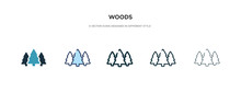 Woods Icon In Different Style Vector Illustration. Two Colored And Black Woods Vector Icons Designed In Filled, Outline, Line And Stroke Style Can Be Used For Web, Mobile, Ui