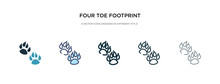 Four Toe Footprint Icon In Different Style Vector Illustration. Two Colored And Black Four Toe Footprint Vector Icons Designed In Filled, Outline, Line And Stroke Style Can Be Used For Web, Mobile,