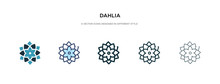 Dahlia Icon In Different Style Vector Illustration. Two Colored And Black Dahlia Vector Icons Designed In Filled, Outline, Line And Stroke Style Can Be Used For Web, Mobile, Ui