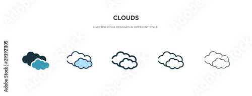 clouds icon in different style vector illustration. two colored and black clouds vector icons designed in filled, outline, line and stroke style can be used for web, mobile, ui
