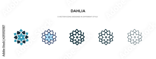 Valokuva dahlia icon in different style vector illustration