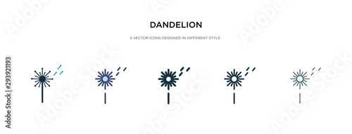 Fototapeta dandelion icon in different style vector illustration. two colored and black dandelion vector icons designed in filled, outline, line and stroke style can be used for web, mobile, ui obraz
