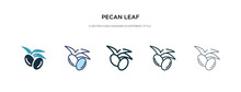 Pecan Leaf Icon In Different S...