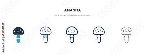 amanita icon in different style vector illustration Wallpaper Mural