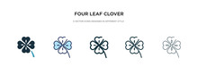 Four Leaf Clover Icon In Diffe...