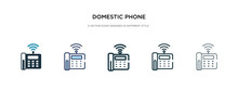 Domestic Phone Icon In Different Style Vector Illustration. Two Colored And Black Domestic Phone Vector Icons Designed In Filled, Outline, Line And Stroke Style Can Be Used For Web, Mobile, Ui