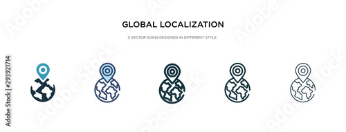global localization icon in different style vector illustration Wallpaper Mural