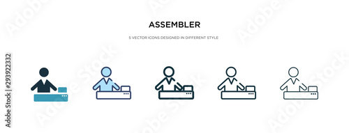 Photo assembler icon in different style vector illustration