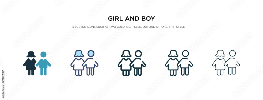 Obraz girl and boy icon in different style vector illustration. two colored and black girl and boy vector icons designed in filled, outline, line stroke style can be used for web, mobile, ui fototapeta, plakat