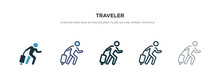 Traveler Icon In Different Style Vector Illustration. Two Colored And Black Traveler Vector Icons Designed In Filled, Outline, Line And Stroke Style Can Be Used For Web, Mobile, Ui