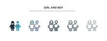Girl And Boy Icon In Different...