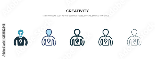 Obraz creativity icon in different style vector illustration. two colored and black creativity vector icons designed in filled, outline, line and stroke style can be used for web, mobile, ui - fototapety do salonu