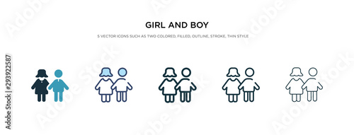 girl and boy icon in different style vector illustration. two colored and black girl and boy vector icons designed in filled, outline, line stroke style can be used for web, mobile, ui