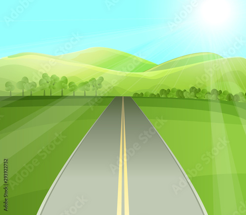 Foto auf AluDibond Lime grun Road in green valley flat vector illustration. Summer landscape, empty highway with trees and bushes. Emerald hills, blue sky with bright sun rays. Countryside scenery with sunlit green fields