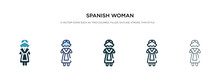 Spanish Woman Icon In Differen...