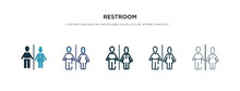 Restroom Icon In Different Style Vector Illustration. Two Colored And Black Restroom Vector Icons Designed In Filled, Outline, Line And Stroke Style Can Be Used For Web, Mobile, Ui